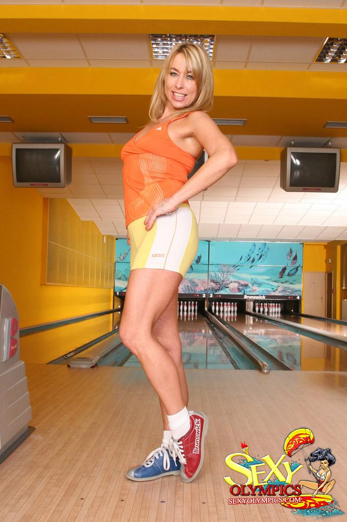 Women bowling naked